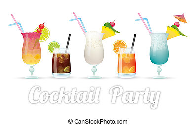 Cocktail Party - Kinds of cocktails with text Cocktail...