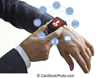 Hands touch icon customer network connection on smart watch,...