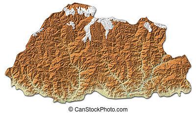 Relief map of Bhutan - 3D-Rendering - Relief map of Bhutan...