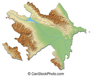 Relief map of Azerbaijan - 3D-Rendering