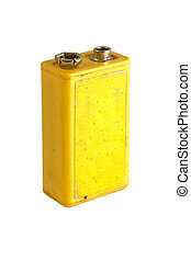 9 volt battery - yellow 9 volt battery isolated