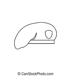 Military beret icon in outline style - icon in outline style...