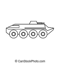 Armoured troop carrier wheeled icon, outline style - icon in...
