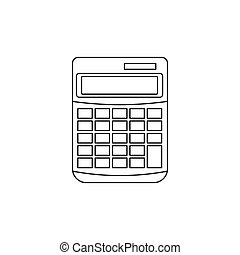 Calculator icon in outline style - icon in outline style on...