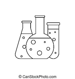 Chemical laboratory flasks icon, outline style - icon in...
