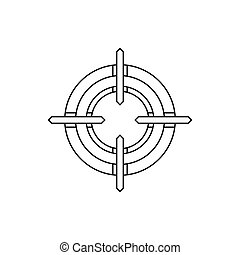 Crosshair reticle icon in outline style - icon in outline...