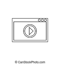 Video movie media player icon, outline style