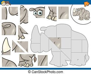 jigsaw puzzle game - Cartoon Illustration of Educational...