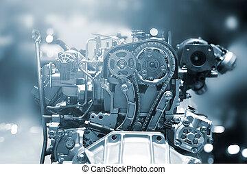 引擎, 汽車, 部份, 傷口, 金屬