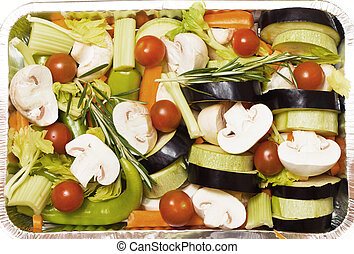 Prepared vegetables. - Prepared in foil pan with different...