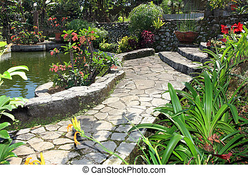 Garden and pond - Beautiful natural garden with pond