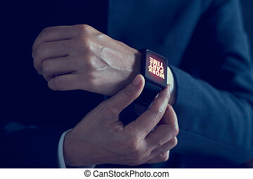 Businessman with work part time word on smartwatch screen