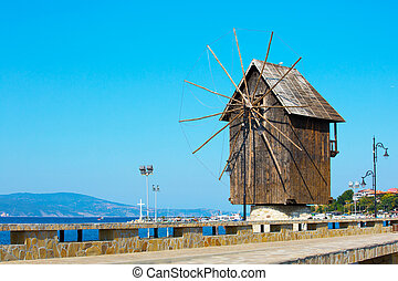 Windmill of Nesebar in Bulgaria by the Black sea - Windmill...