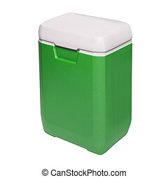 Traveling refrigerator isolated on a white