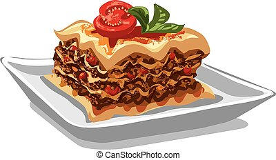 italiano, cotto, lasagna