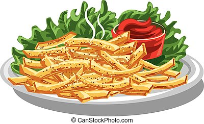 fries with ketchup - illustration of fries with ketchup and...