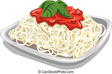 pasta with tomato sauce - illustration of spaghetti and...