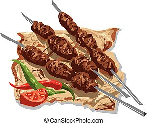 tasty kebabs on skewers with pita bread, tomato and chilly...