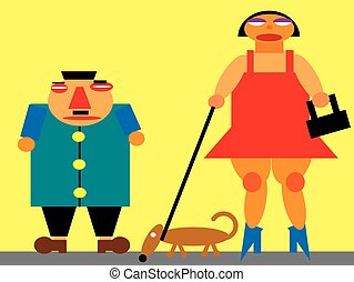 caricature of man and woman