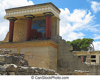 Ruins of the Minoan Palace of Knossos in Heraklion,Greece -...
