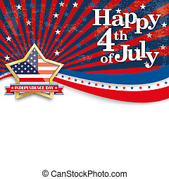 Happy 4th July Stars US Stripes Golden Star - Independence...