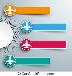 Infographic Halftone 4 Circles Banners Jets - Infographic...