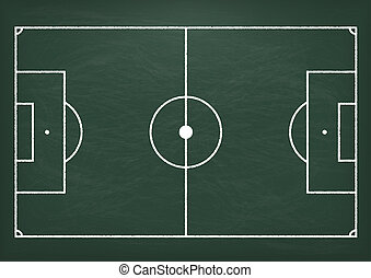 Football Ground Green Blackboard - Football ground on the...