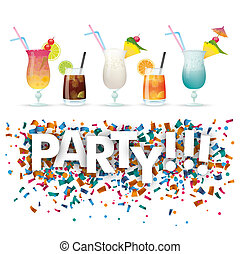 Confetti Cocktails Party - Cocktails with confetti and text...