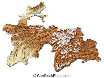 Relief map of Tajikistan - 3D-Rendering - Relief map of...