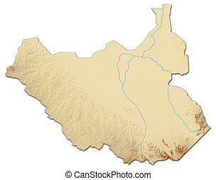 Relief map of South Sudan - 3D-Rendering