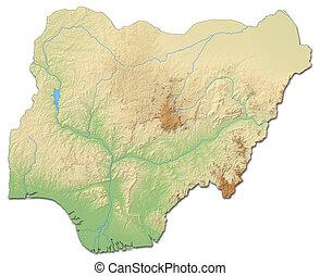 Relief map of Nigeria - 3D-Rendering