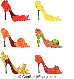 fruit shoes - vector illustration of a fruit shoes