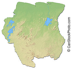 Relief map of Suriname - 3D-Rendering