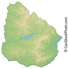 Relief map of Uruguay - 3D-Rendering