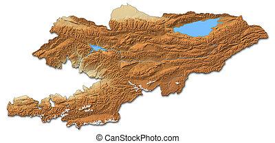 Relief map of Kyrgyzstan - 3D-Rendering - Relief map of...
