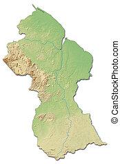 Relief map of Guyana - 3D-Rendering