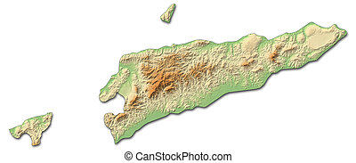 Relief map of East Timor - 3D-Rendering - Relief map of East...