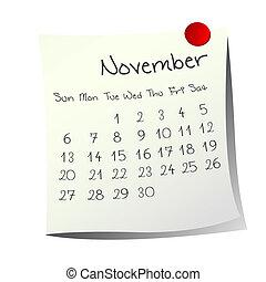 November 2011 - Calendar for November 2011 on paper