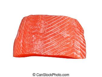 fresh salmon fillet on white background