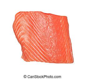 fresh salmon fillet on white