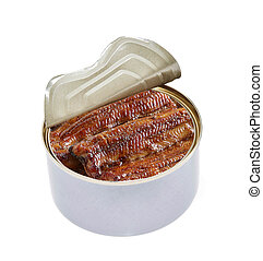 Open can of tinned sardines on white background