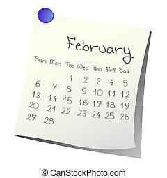 February 2011 - Calendar for February 2011 on paper