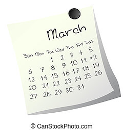 March 2011 - Calendar for March 2011 on paper