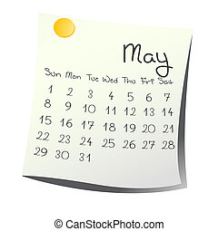 May 2011 - Calendar for May 2011 on paper