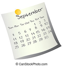 September 2011 - Calendar for September 2011 on paper