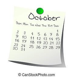 October  2011 - Calendar for  October 2011 on paper