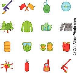 Paintball icons set, cartoon style - Paintball icons set in...