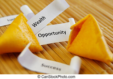 closeup of a fortune cookie with Success, Opportunity etc...