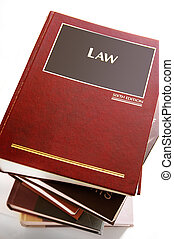 stack of law books from above,on white