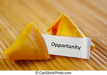Primer plano, fortuna, galleta, oportunidad, mensaje